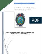 El Consumo de Hidrocarburo en Bolivia y Proyecto y Externo de Gas[1]