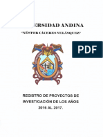 Registro de Proyectos de Investigación de Los Años 2016 Al 2017 1