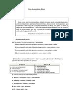 Ficha de gramática de Português - 8º ano