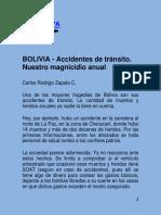 BOLIVIA - Accidentes de Tránsito. Nuestro Magnicidio Anual CLARABOYA