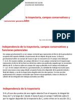 Independencia de La Trayectoria, Campos Conservativos y Funciones Potenciales