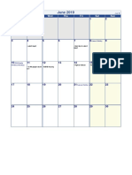 2019 Monthly Holiday Calendar