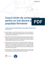 Cosul Minim de Consum Lunar Pentru Un Trai Decent in Romania