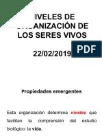 Clase No. 2. NivelesOrganiz&PropiedadesEmergentes 22-02-2019