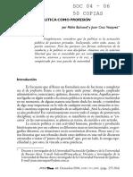 A. Bulcourf-Vazquez. La Ciencia Política Como Profesión