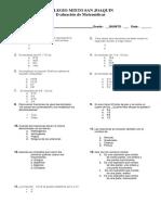 Evaluacion Grado Quinto Matematicas Recuperacion