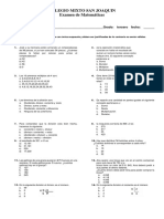 Examen de Matematica Tercer Periodo Grado Tercero