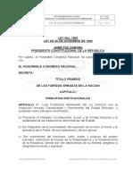 Militar- Ley 1405 Organica de Las Fuerzas Armadas de Bolivia