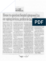 Business World, Sept. 23, 2019, House to question Senate's proposed tax on vaping devices, prefers to tax refills.pdf