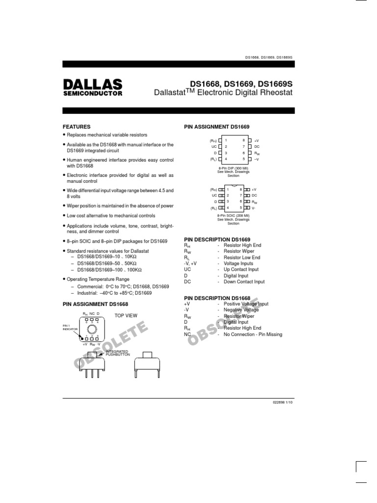 ds1669 resistor direct currentThe Ds1669 Is An Electronic Digital Rheostat Manufactured By Dallas #4