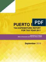 Puerto Rico Tax Expenditure Report 2017 Version Final Septiembre 2019