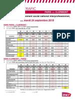 Intercites Info Greve Paris Clermont 24 Sept 2019
