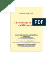 La Sociologie en France au XIXe siècle - Émile Durkheim