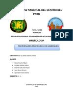 Informe de Propiedades Físicas de Los Minerales