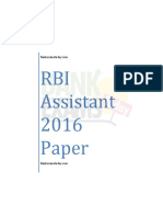 RBI Assistant 2016 Previous Paper