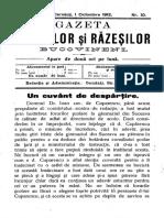 Gazeta Mazililor Şi Răzeşilor Bucovineni, An 2 (1912), Nr. 10 (1 Oct.)