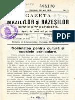 Gazeta Mazililor Şi Răzeşilor Bucovineni, An 3 (1913), Nr. 1 (28 Mai)