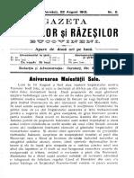 Gazeta Mazililor Şi Răzeşilor Bucovineni, An 3 (1913), Nr. 5 (22 Aug.)