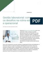 Gestão Laboratorial _ Os Desafios Na Rotina Estratégica e Operacional de Um Laboratório Moderno e Dinâmico