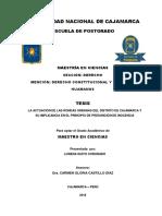 La Actuación de Las Rondas Urbanas Del Distrito de Cajamarca y Su Implicancia en El Principio de