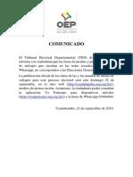 Comunicado oficial del Tribunal Electoral Departamental de Cochabamba (TED)