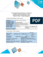 Activities Guide and Evaluation Rubric - Pre Task - Initial Evaluation