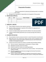 Procedure Preservation SOP-011