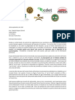 Carta enviada a la gobernadora Wanda Vázquez