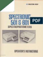 Milton Roy Spectronic SP501 601 Spectrophotometer Operator Instructions
