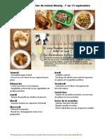 Menu de La Cuisine de Meme Moniq 7 Au 13 Septembre