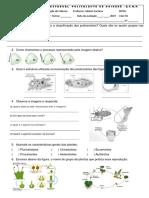 Avaliação Sobre Protozoários e Plantas