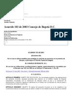 Acuerdo 103 de 2003 Concejo de Bogotá D.C_
