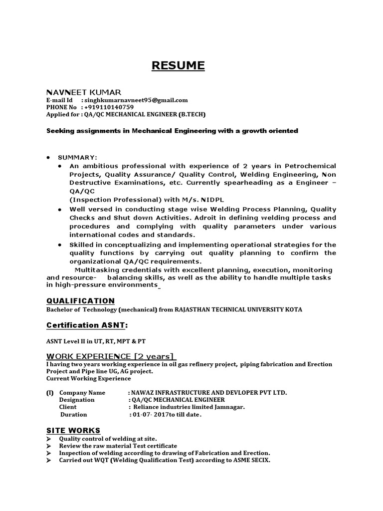 Navneet Qc Department Resume 2019 Nondestructive Testing