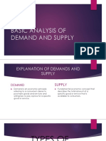 Basic Analysis of Demand and Supply