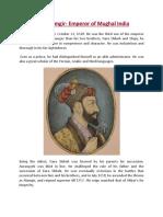 Aurangzeb Alamgir Emperor of Mughal India