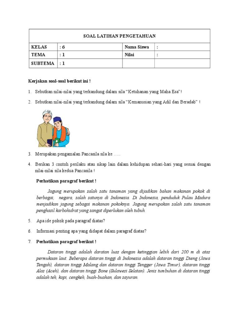 Soal Latihan Pengetahuan Kelas 6 Nama Siswa Tema 1 Nilai Subtema 1