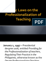 Basic Laws on the Professionalization of Teaching
