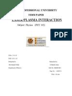 Laser Plasma Interaction