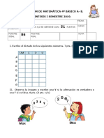 Evaluación SINTESIS I SEMESTRE  matemática  4° BÁSICO A-B