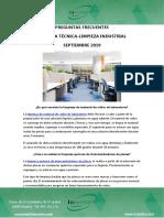 Preguntas Frecuentes Limpieza Técnica - Limpieza Industrial Septiembre 2019