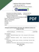 Analyse Bactériologique Des Eaux de Certaines Écoles à La Wilaya de Mila
