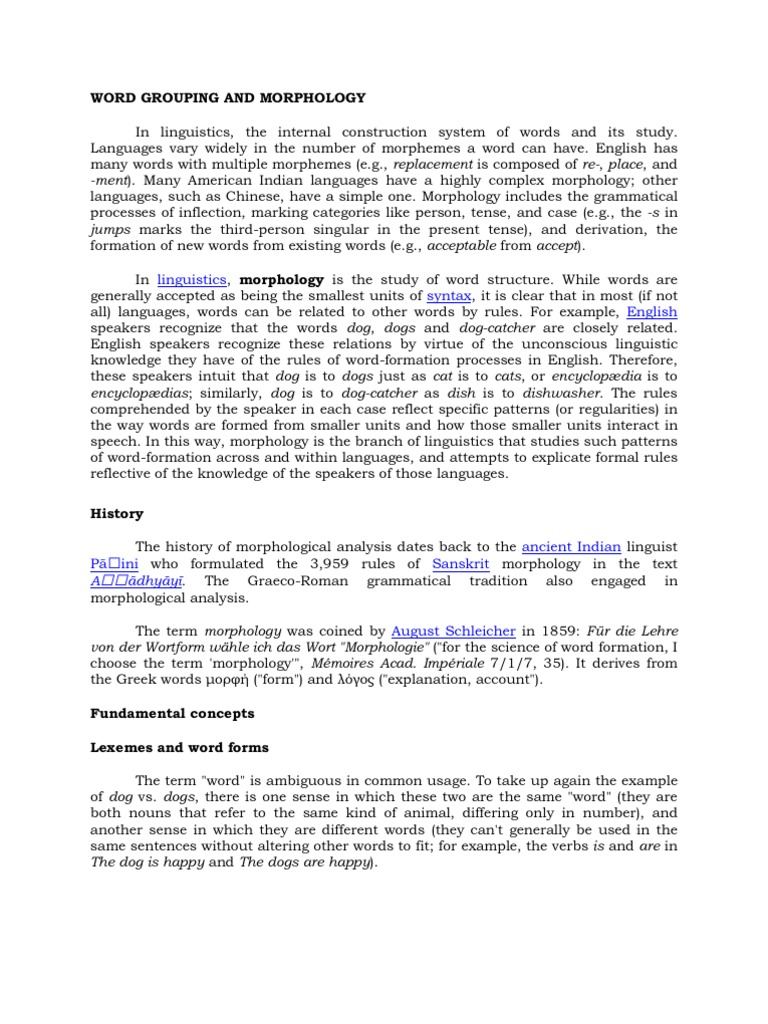 Word Grouping and Morphology | Morphology (Linguistics
