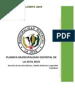 Planefa Municipalidad Distrital de La Joya 2019 PDF