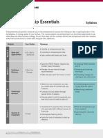 Syllabus Entrepreneurship Essentials