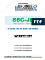 SSC JE Mechanical Study Material Production Engineering