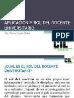 Aplicación y Rol Del Docente Universitario