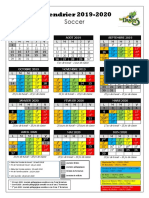 Calendrier Scolaire - Primaire - 2019-2020 - Word - Soccer