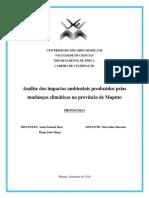 Análise Dos Impactos Ambientais Produzidos Pelas Mudanças Climáticas Na Provincia de Maputo