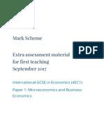 Edexcel IGCSE 9-1 EAM marking scheme for paper 1