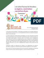 Declaratoria 8vo Encuentro Violencia contra mujeres periodistas